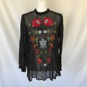 Zara Woman Black Sheer Embroidered Top Size S